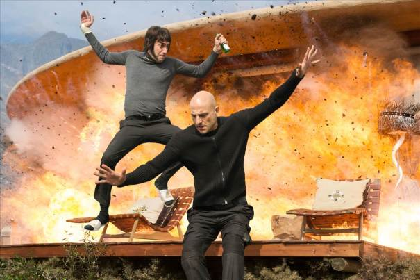 Sacha Baron Cohen and Mark Strong in The Brothers Grimsby