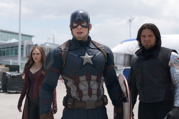 Elizabeth Olsen, Chris Evans and Sebastian Stan in Marvel's Captain America: Civil War.